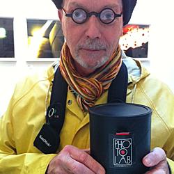 Bill McClaren holding Photolab Pinhole cam